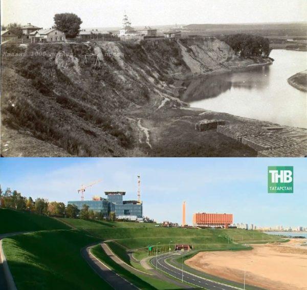 Овраг Федоровского монастыря в 1890-том году и НКЦ в наше время.